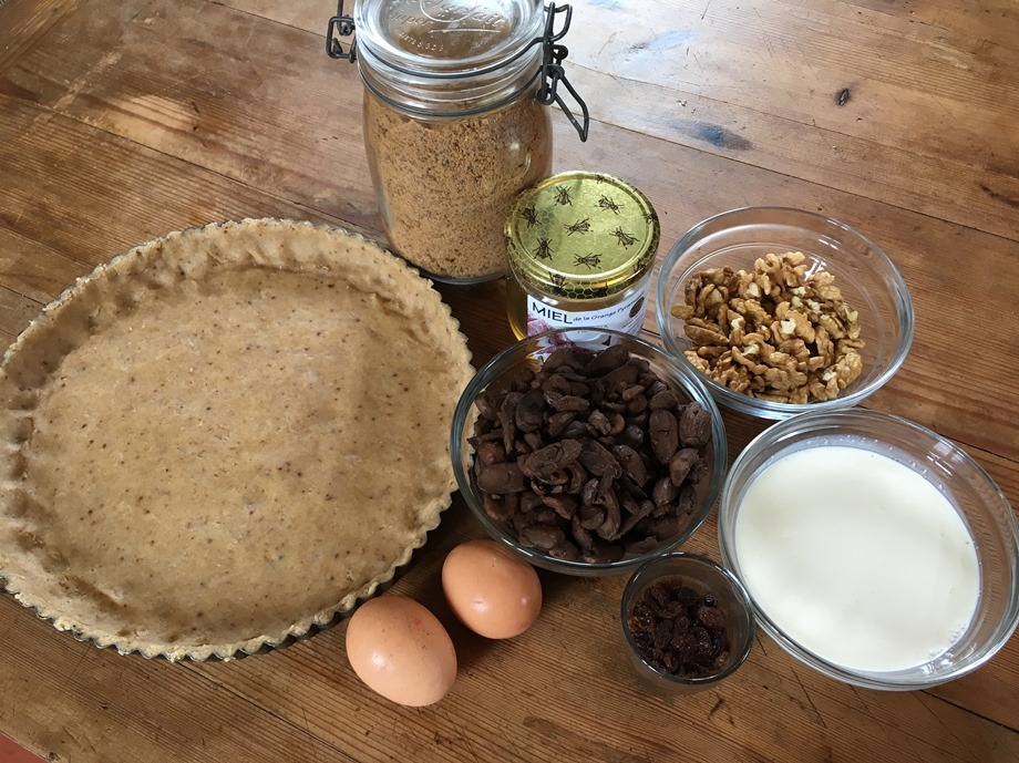 Ingrédients tarte aux glands et aux noix