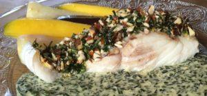 Filet de lingue rôti - sauce à l'ail des vignes