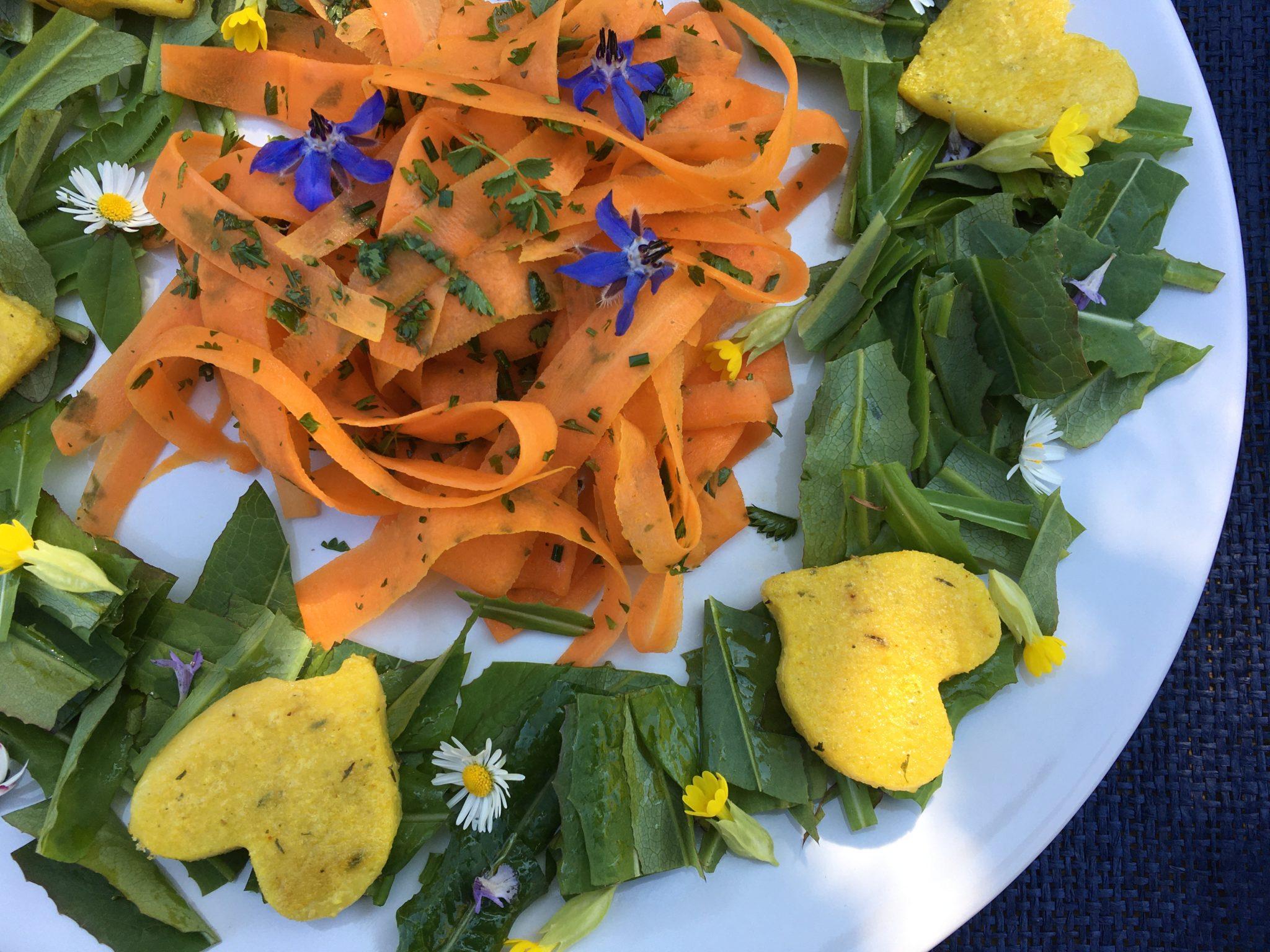 Tagliatelles de carottes à la pimprenelle détail
